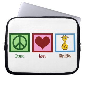 Peace Love Giraffes Laptop Computer Sleeve