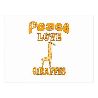 Peace Love Giraffes Postcard