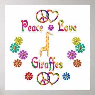 PEACE LOVE GIRAFFES POSTER