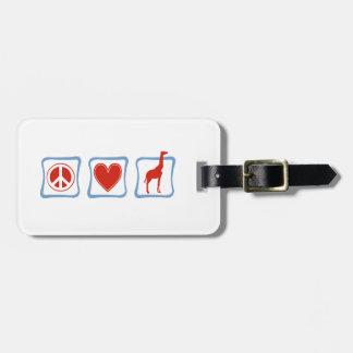 Peace Love Giraffes squares Bag Tag