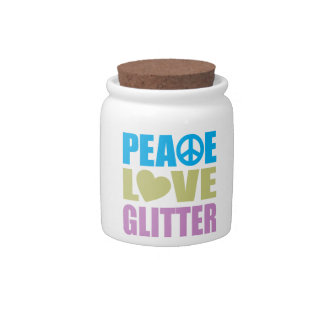 Peace Love Glitter Candy Dish