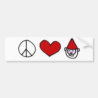 Peace Love Gnome Bumper Sticker