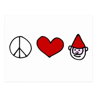 Peace Love Gnome Postcard