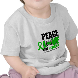 Peace Love Go Green Environment Butterfly Tee Shirt
