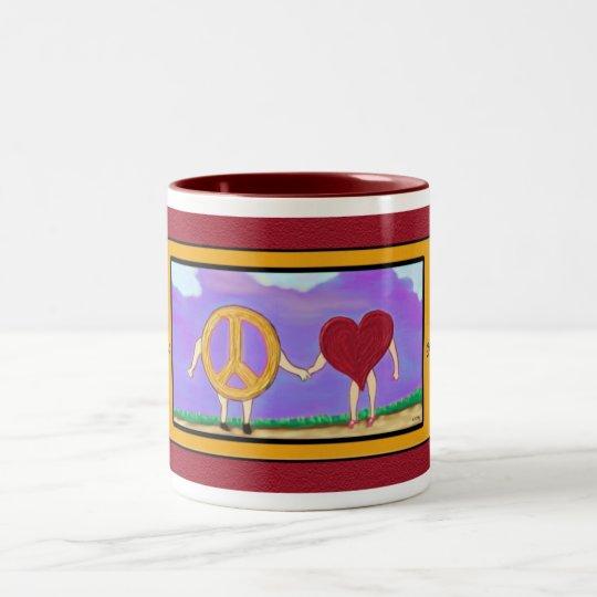 Peace & Love Go Hand in Hand mug