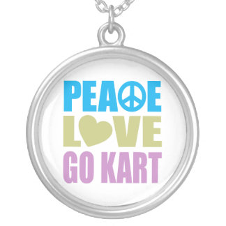 Peace Love Go Kart Silver Plated Necklace