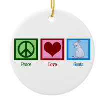 Peace Love Goats Ceramic Ornament