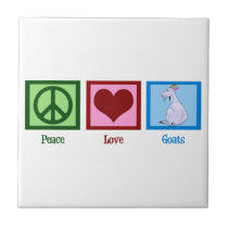 Peace Love Goats Ceramic Tile