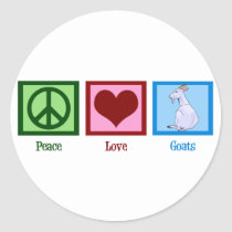 Peace Love Goats Classic Round Sticker