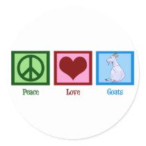 Peace Love Goats Classic Round Sticker