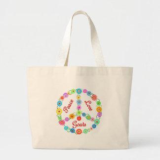 Peace Love Goats Large Tote Bag