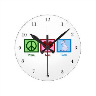 Peace Love Goats Round Clock