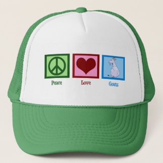 Peace Love Goats Trucker Hat