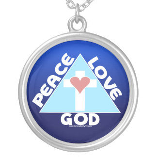 Peace Love God Round Pendant Necklace