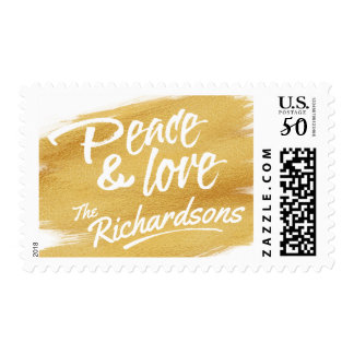 Peace & Love Gold Paint Brush Stroke Holiday Postage