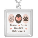 Peace Love Golden Retrivers Necklace