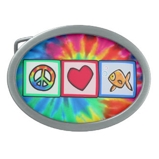 Peace, Love, Goldfish Oval Belt Buckles