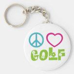 Peace Love Golf Basic Round Button Keychain