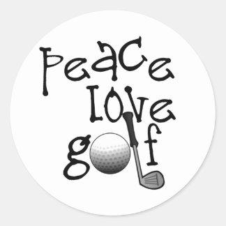 Peace, Love, Golf Classic Round Sticker