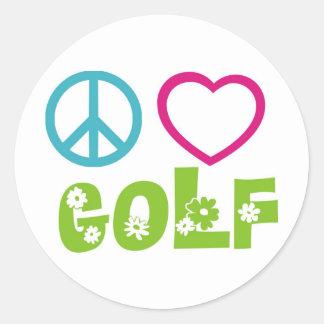Peace Love Golf Classic Round Sticker