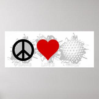 Peace Love Golf Emblem Poster