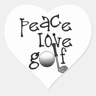 Peace, Love, Golf Heart Sticker