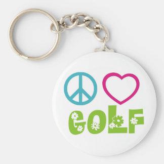 Peace Love Golf Keychain