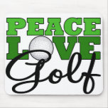Peace, Love & Golf Mouse Pad