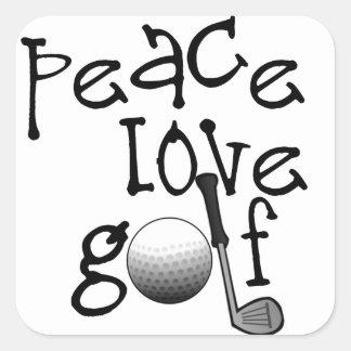 Peace, Love, Golf Square Sticker