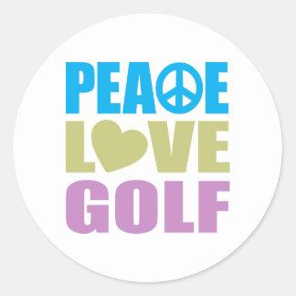 Peace Love Golf Round Sticker