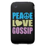 Peace Love Gossip Tough iPhone 3 Cover