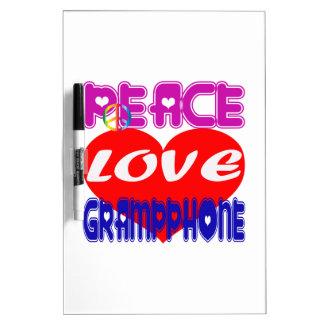 Peace Love Gramophone Dry-Erase Board