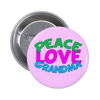 Peace Love Grandma Pinback Button