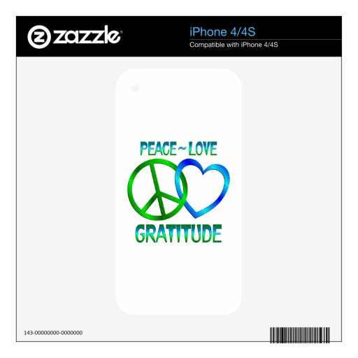 Peace Love GRATITUDE Decals For The iPhone 4S