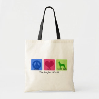 Peace Love Great Dane Tote Bag