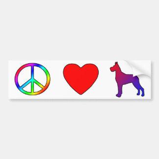 Peace Love Great Danes Bumper Sticker