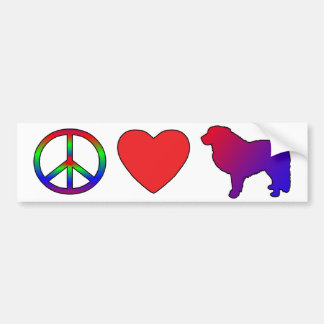 Peace Love Great Pyrenees Bumper Sticker