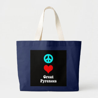 Peace love Great Pyrenees Large Tote Bag
