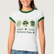 Peace Love Green Beer Ringer Tee Shirt - A peace symbol, shamrock and a frosted glass of green beer on St Patricks Day.