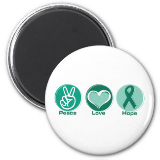 Peace Love Green Hope 2 Inch Round Magnet