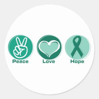 Peace Love Green Hope Classic Round Sticker