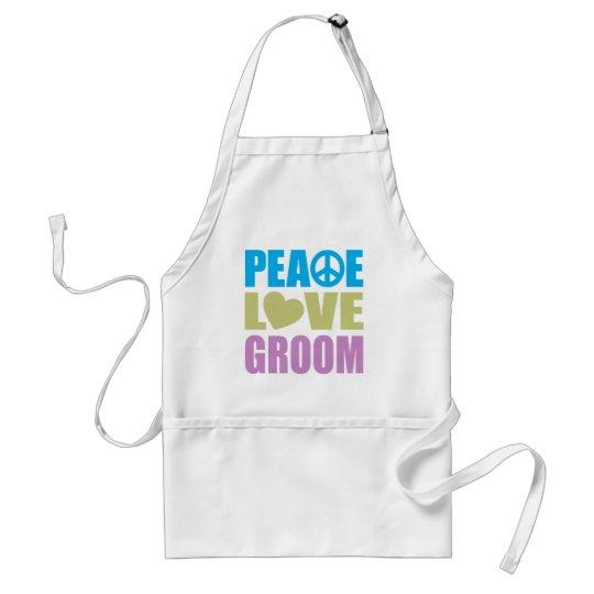 Peace Love Groom Adult Apron