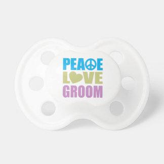 Peace Love Groom Baby Pacifiers