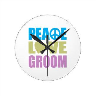 Peace Love Groom Round Wall Clocks