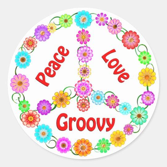 Peace Love Groovy Classic Round Sticker