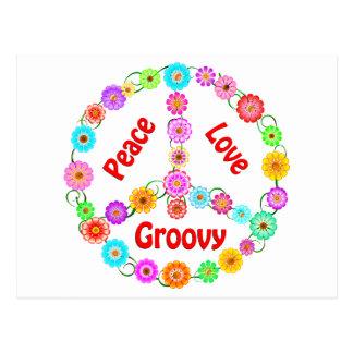 Peace Love Groovy Postcard