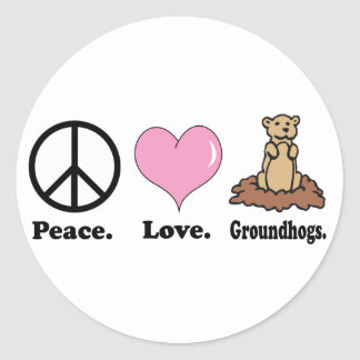 peace love groundhogs round stickers