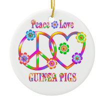 Peace Love Guinea Pigs Ceramic Ornament