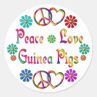 PEACE LOVE GUINEA PIGS CLASSIC ROUND STICKER