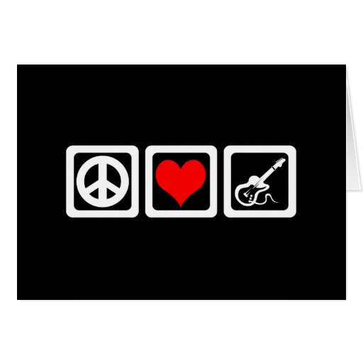 Peace love guitar greeting cards
